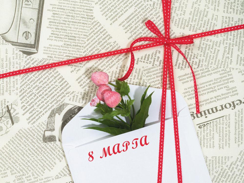 Обои для рабочего стола Тюльпаны в подарок (8 марта)