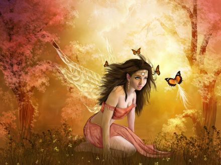 Обои Фея сидит на лужайке и над ней кружатся бабочки...