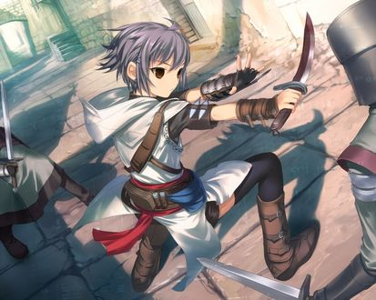 Обои Yuki Nagato / Юки Нагато из аниме Suzumiya Haruhi no Yuutsu / Меланхолия Харухи Судзумии в образе персонажа из игры Assassins Creed / Кредо убийцы
