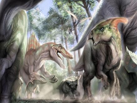 Обои Доисторический мир... Нападение хищного динозавра на стадо травоядных