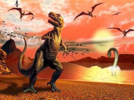 Обои Три разновидности динозавров:сухопутный хищник,летающий и ящер на воде