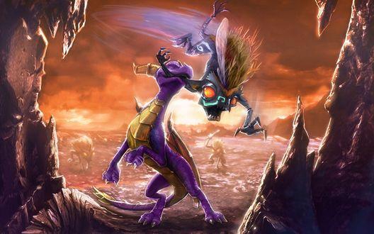 Обои Борьба добра со злом- храбрый дракон сражается с демонами