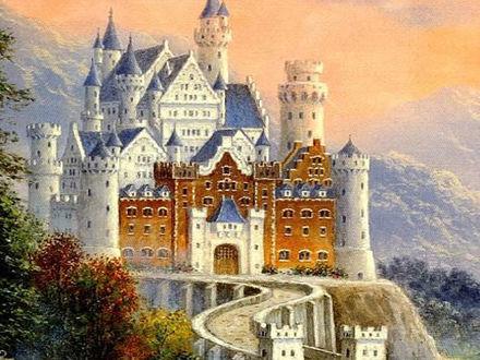 Обои Картина 'Замок Нойшванштайн / Schlob Neuschwanstein около городка Фюссен в юго-западной Баварии, Германия'