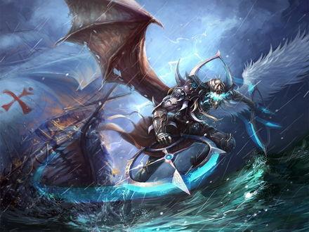 Обои Фантастическое существо, полу-ангел, полу-демон воюет с налетевшим штормом