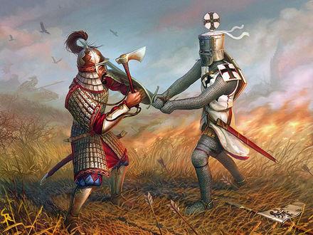 Обои Кровопролитная сеча во времена крестовых походов, на переднем плане шведский рыцарь и османский воин наносят друг другу смертельные удары, наверху уже кружатся стервятники в предвкушении скорой добычи
