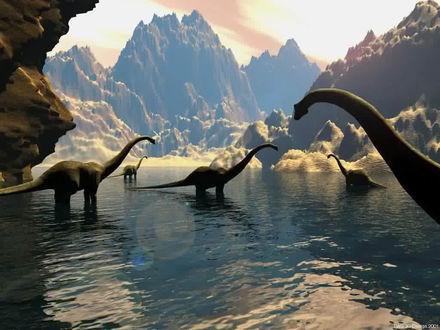 Обои Стадо динозавров в горном озере