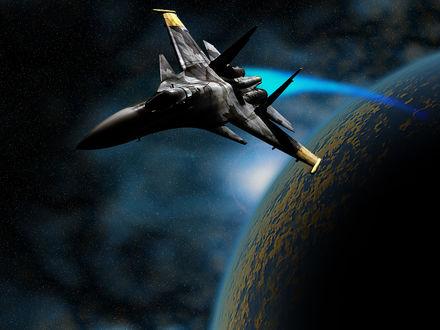 Обои Самолёт , оторвавшийся от планеты