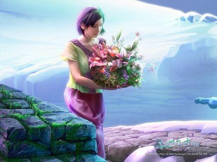 Обои Девушка несет букет из самых разнообразных цветов (Celestial Exploring)