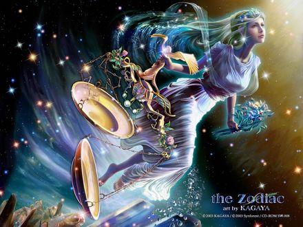 Обои Весы the Zodiac art by Kagaya © 2003 Kagaya / © 2003 Synforest / CD-ROM SW-008