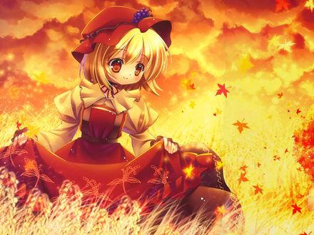 Обои Богиня урожая Минорико Аки / Minoriko Aki из аниме-игры Проект Тохо / Touhou Project в длинном платье среди осенних листьев