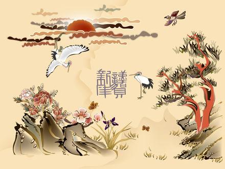 Обои Японский мотив - журавли ворона и иероглиф