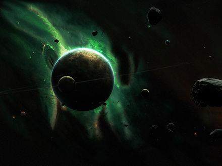 Обои Планета со спутником