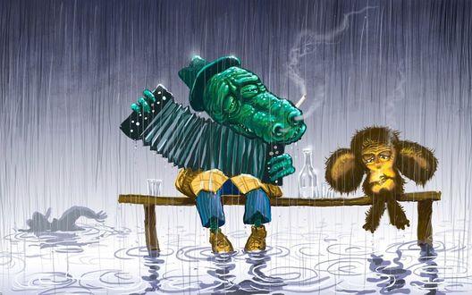 Обои Чебурашка и крокодил Гена сидят на скамейке,а мимо по лужам плывут люди