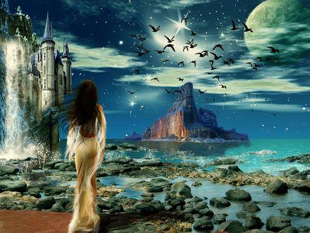 Обои Девушка в легком одеянии на берегу моря наблюдает за стаей птиц