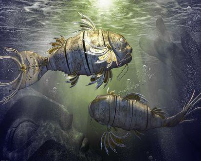 Обои Механические рыбы