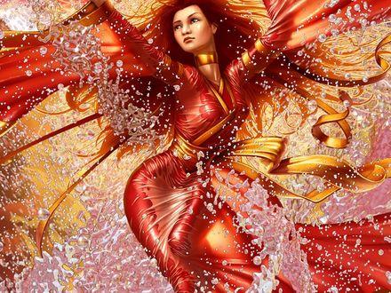 Обои Волшебница в красном платье