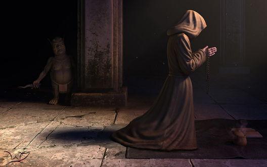 Обои Волшебник, перебирая четки, читает заклинания, за колонной храма притаился гоблин, вооружённый ножом