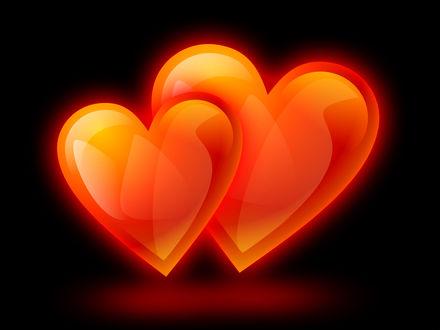 Обои Два огненных сердца