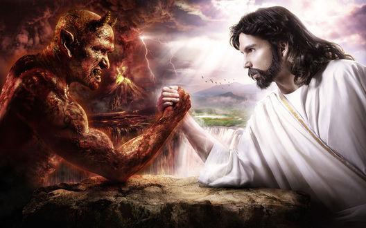 Обои Армреслинг Иисуса и Дьявола