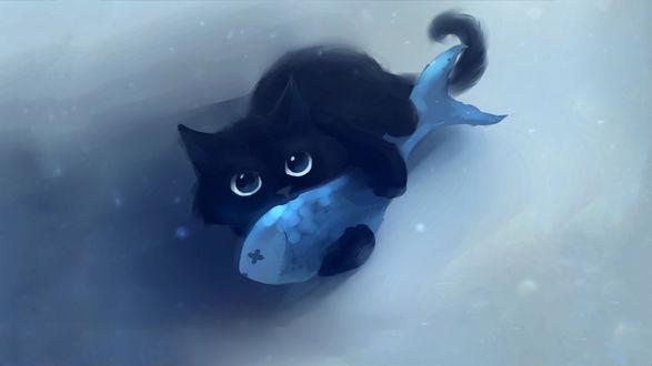 Обои Черный кот ест рыбу
