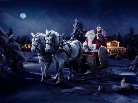 Обои Дед Мороз и снегурочка едут на санях развозить подарки