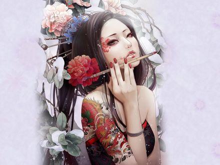 Обои Девушка с востока с кисточками и цветами