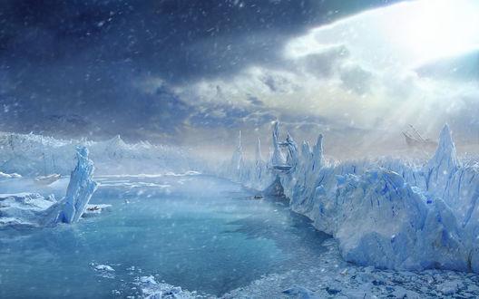 Обои Вечная зима с огромными ледниками и потопленными кораблями