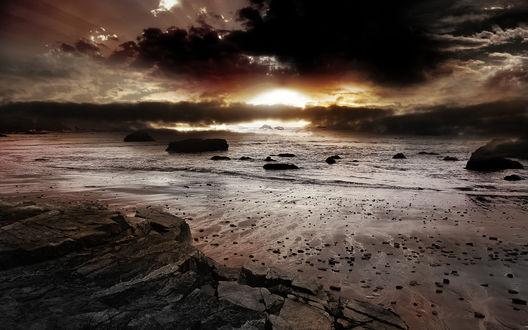 Обои Красивый закат над морем