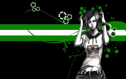 Обои Девушка в наушниках наслаждается музыкой в футболке ROBOTO