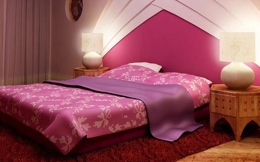 Обои Красивая комната в розовых тонах