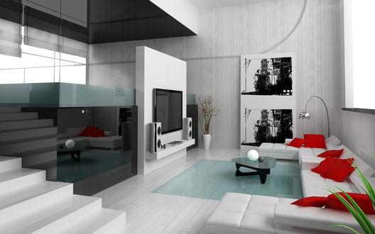 Обои Современный интерьер, плазменный телевизор, белый диван с красными подушками, слева отражение комнаты в блестящей черной панели