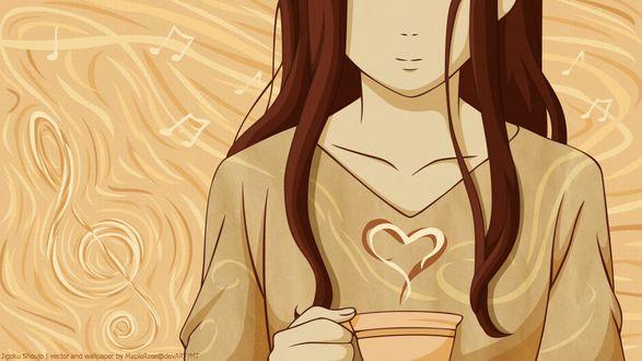 Обои Девушка с чашкой кофе и паром в форме сердечка