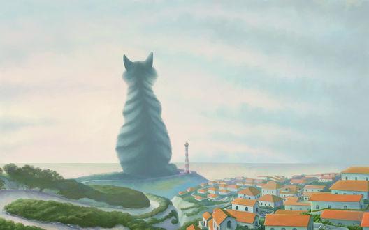 Обои Кот-великан сидит на берегу моря-окияна и смотрит в морскую даль, то ли кого-то встречая, то ли кого-то провожая.