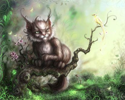 Обои Кот, скорее похожий на дьявола, охотится на бедную пичушку, а может на  чью-то несчастную душу (SNAKE)