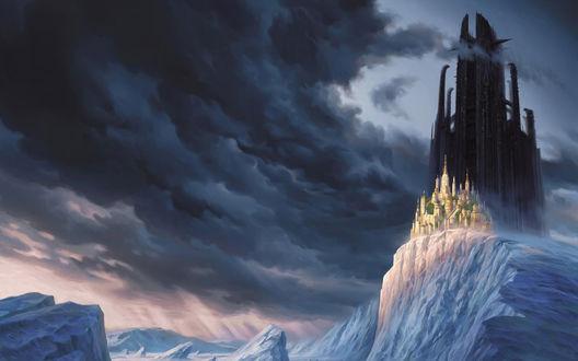 Обои Мистический замок на горе