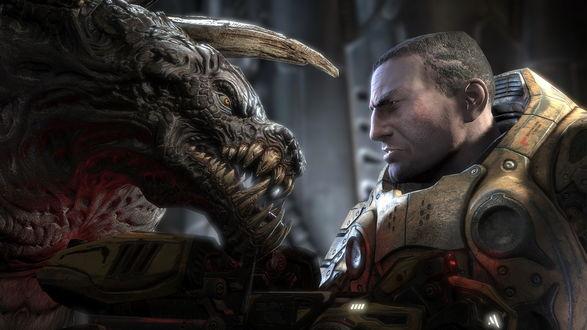 Обои Воин и ужасный монстр встретились взглядами из игры Unreal Tournament 3