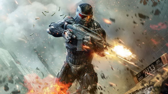 Обои Воин будущего стреляет из автомата для игры «Crysis 2» (off duty 2h33)
