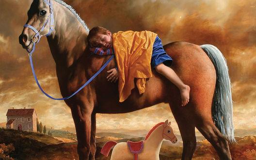 Обои Ребенок спит на большой лошади