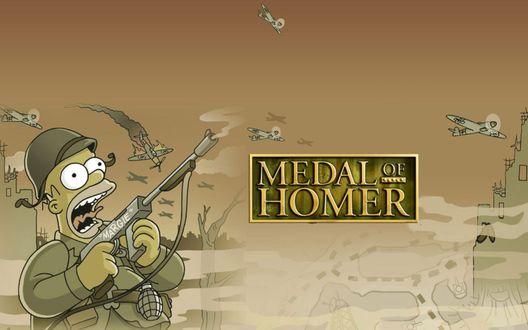 Обои Гомер Симпсон стреляет по самолетам (MEDAL of HOMER)