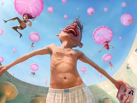 Обои С неба на веселого щуплого мужчину падают девушки в одних чулках и нижнем белье на розовых парашютах
