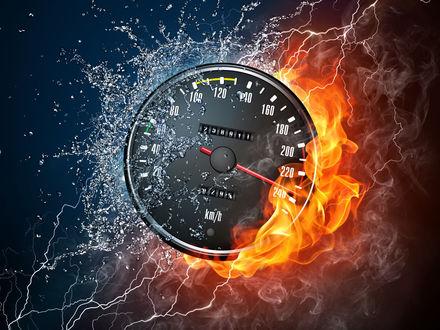 Обои Огонь вода молнии и спидометр со стрелкой на отметке 238 km/h