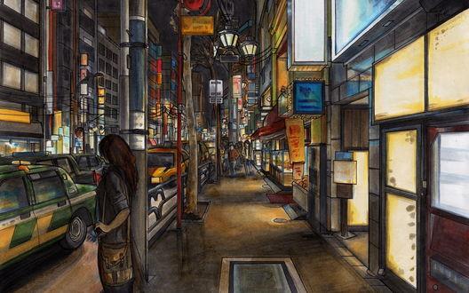 Обои Девушка с сумкой на плече стоит на фоне переполненной машинами улицы с высокими зданиями