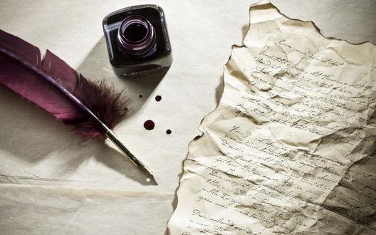 Обои Перо, обугленный пергамент и чернильница