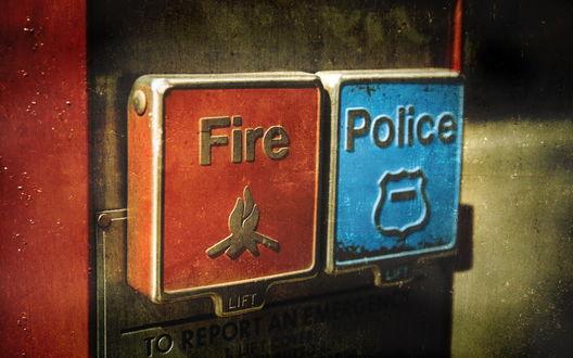 Обои Тревожные кнопки Fire и Police