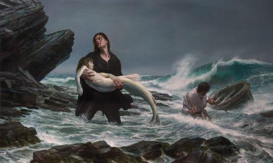 Обои Рыбаки спасают русалку