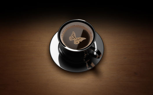 Обои Пенка на кофе в форме бабочки