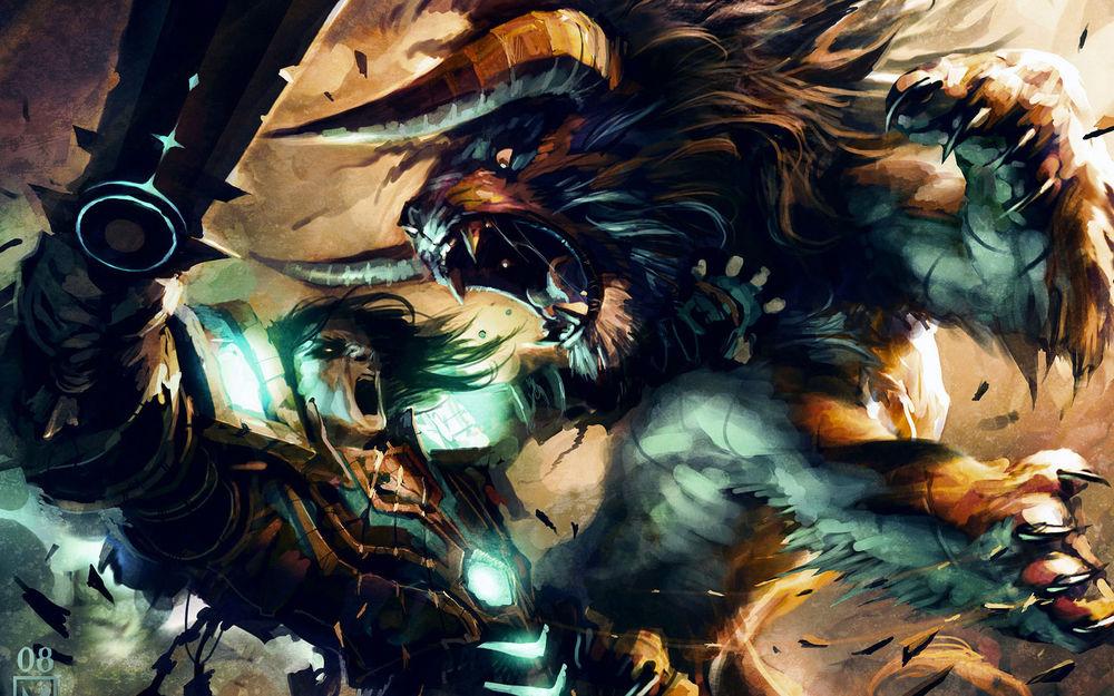 Обои для рабочего стола По мотивам игры World of Warcraft / Варкрафт / Мир Военного Ремесла, бой друида с тауреном