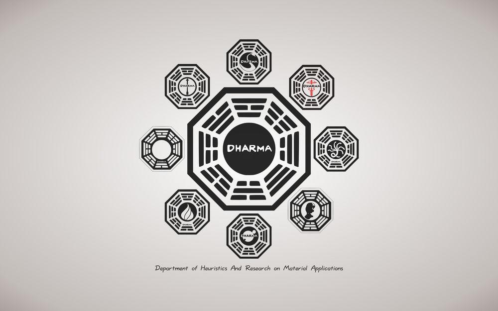 Обои для рабочего стола LOST, Остаться в живых, Dharma знаки Department of Heurists and Research of Material Applications
