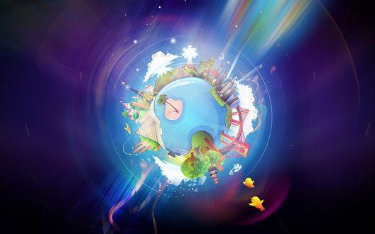 Обои Стилизованный земной шар