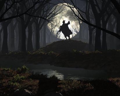 Обои Всадник с глазами, горящими злым огнем, сидит на лошади на фоне полной луны